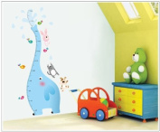 Dnven (80cm w X 130cm h) Blue Elephant Measurement Height Chart with Cat Dog and Rabbit Birds Nursery Room Wall Decals Stickers
