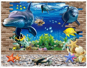 Dnven (100cm w X 70cm h) 3d Undersea World Wall Sticker Removable Wall Stickers Vinyl Decal Home Decor Deco Art DIY Larger