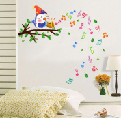 Dnven (100cm w X 90cm h) Happy Musical Notes Lovely Birds Singing on the Branches Wall Decals, Children's Room Nursery Removable Wall Stickers Murals