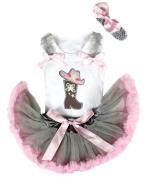 Western Cowgirl Hat Boot White Top Grey Pink Newborn Baby Girl Pettiskirt 3-12m