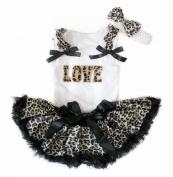 Valentine Love White Top Black Leopard Newborn Baby Girl Pettiskirt Set 3-12m