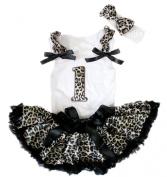 Leopard 1st White Top Black Leopard Newborn Baby Girl Pettiskirt Set 3-12m