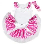 Ruffle Bow White Top Pink White Polka Dots Newborn Baby Girl Pettiskirt 3-12m