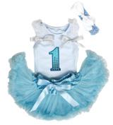 Sequin 1st Birthday Light Blue Top Shirt Newborn Baby Skirt Outfit Set 3-12m