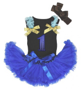 Sequin 1st Birthday Black Top Newborn Royal Blue Skirt Outfit Baby Girl 3-12m