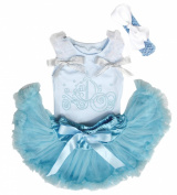 Rhinestone Pumpkin Carriage Princess Blue Top Baby Girl Skirt Set 3-12m