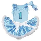 Sequin 1st Birthday Blue Top Blue White Dot Newborn Baby Girl Skirt Set 3-12m