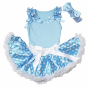 Ruffle Bow Blue Top Blue White Dots Newborn Baby Girl Pettiskirt Set 3-12m