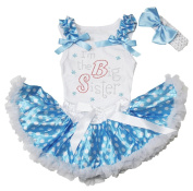 Rhinestone I'm the Big Sister Top Blue White Dots Newborn Baby Skirt Set 3-12m
