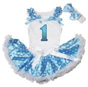Sequin 1st Birthday White Top Blue Polka Dots Newborn Baby Skirt Set 3-12m