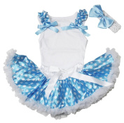 Ruffle Bow Plain White Top Blue White Dots Newborn Baby Girl Skirt Set 3-12m
