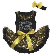 Born to Wear Diamond Black Top Gold Sequins Newborn Baby Skirt Set 3-12m