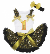 Easter Bling 1st Birthday White Top Gold Sequins Newborn Baby Skirt 3-12m