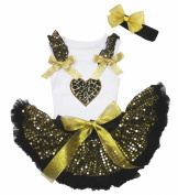 Easter Leopard Heart White Top Gold Sequins Newborn Baby Skirt Set 3-12m