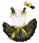 Easter Sparkle Gold Sequin Ruffle Bow White Top Newborn Baby Skirt Set 3-12m