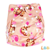 LBB(TM) Baby Resuable Washable Pocket Cloth Nappy With Adjustable Snap,Monkey Printed