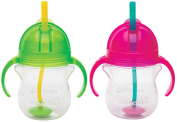 Munchkin Click Lock 210ml Weighted Flexi-Straw Cup, 2 Pack, Green/Pink
