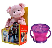 Goldbug Animal 2 in 1 Harness with Travel Snack Cup, Pig