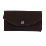 Women's Wallet Dark Brown Genuine Leather Chequebook Pocketbook Clutch Purse