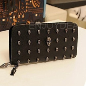 FOME Wallet Women Punk Style PU Long High-end Cross Pattern Wallet Purse Zipper Bag Handbag Skull Plated