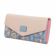 FUNOC Womens Envelope Leather Wallet Button Clutch Purse Long Handbag Zip Bag