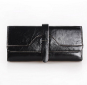 Women's Waxy Genuine Leather Long Wallet Clutch Purse Handbag Card Holder Case with Coin Zipper Pocket