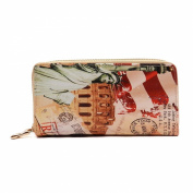 American Flag USA Vintage Double Zip Around Clutch Wallet Wristlet