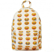 Aicooling New Cute Emoji Design Fashion Casual Canvas Backpack - White