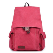 DGY Casual Canvas Travel Backpack Laptop Daypack E00121 Red