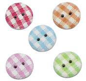 Gingham Painted Wooden Buttons In Mixed Colours (15mm X 25pcs Pack) Perfect For Card Embelishing, Scrapbooking & Other Arts & Craft Projects.