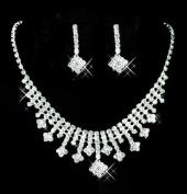 TreasureBay Elegant Crystal Clear Diamante Exclusive Bridal Designer Necklace and Earrings Jewellery Set - BA1524TB