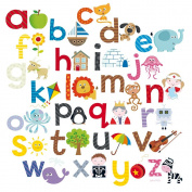 Happy Spaces (54 x 54 x 2 cm) Kids Wall Art Canvas Print Alphabet A to Z by Laila Hills
