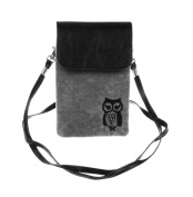 KISS GOLD Owl Print Vertical Mini Leather Cellphone Pouch