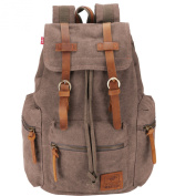 BESTOPE® Unisex Vintage Backpack Leather Canvas Backpack Rucksack Canvas Casual School Hiking Travel Camping Laptop Backpack with Leather Strap ipad Bag For Teenage Girls/Boys