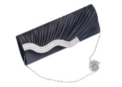 Umehim Womens Satin Pleated Clutches Evening Bags Wedding Party Handbag with Crystal Black White