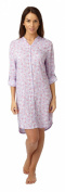 Ladies 100% Viscose Granddad Collar Long Sleeves Nightshirt Lilic with Pink Flamingos Size 10,12,14,16,18,20