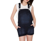 Purpura Erizo Womens Adjustable Strap Short Denim Jumpsuit Overalls