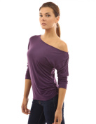 PattyBoutik Comfy One Shoulder Ruched Batwing Dolman 3/4 Sleeve Semi Fitted Casual Knit Top