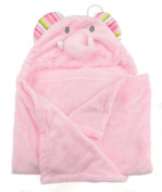 Baby Toddler Girls or Boys Super Soft Fleece Hooded Blanket Dressing Gown Towel Pink Elephant or Blue Doggy