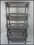High Quality 4 Tier Kitchen Vegetable Fruit/Bathroom Storage Rack Grey New