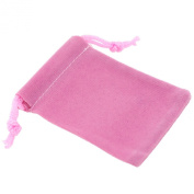 Pack of 12 Pink Colour Soft Velvet Pouches w Drawstrings for Jewellery Gift Packaging, 5x7cm