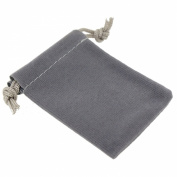 Pack of 12 Grey Colour Soft Velvet Pouches w Drawstrings for Jewellery Gift Packaging, 5x7cm