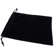 Pack of 12 Black Colour Soft Velvet Pouches w Drawstrings for Jewellery Gift Packaging, 15x20cm