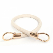 Creamy-white 13mm Width DIY Handbag Accessories Braided Pu Leather Purse Handles Handbag Straps Detachable Bunckles Length 23.6 Inches