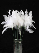 Fluffy White Real Feather Pick Sprays - Package of 6 Picks