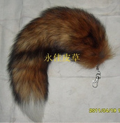 43cm Supper Huge and Fluffy Sunny Fox Tail Fur Cosplay Toy Handbag Accessories Key Chain Ring Hook Tassels Red with White Tip