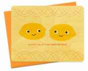 Pucker Up Wood Anniversary Card by Night Owl Paper Goods