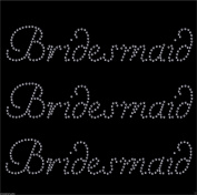 3 x Bridesmaid iron on rhinestone transfer for hen party diamante bridal transfer
