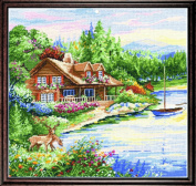 Counted Cross Stitch, Lakeside Cabin, 38cm by 38cm