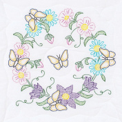 Jack Dempsey Stamped White Quilt Blocks, 46cm by 46cm , Butterfly Wreath, 6-Pack